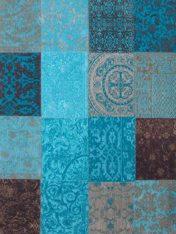 Vintage kelim tapijt 8105 turquoise bruin blauw grijs for Bruin grijs interieur