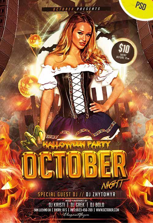 October Night Free Halloween Flyer PSD Template - http ...