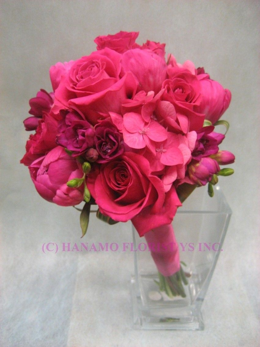 Hot Pink Bouquet Pink Wedding Bouquets On Wedb071 Hot Pink Flowers