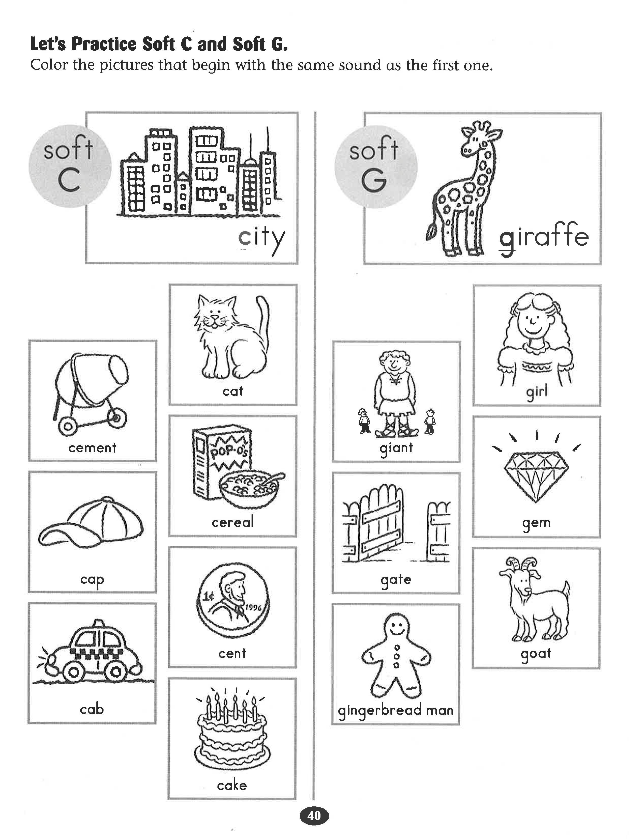 Let's Practice Soft C and Soft G #worksheet.   Kindergarten reading  worksheets [ 3300 x 2473 Pixel ]