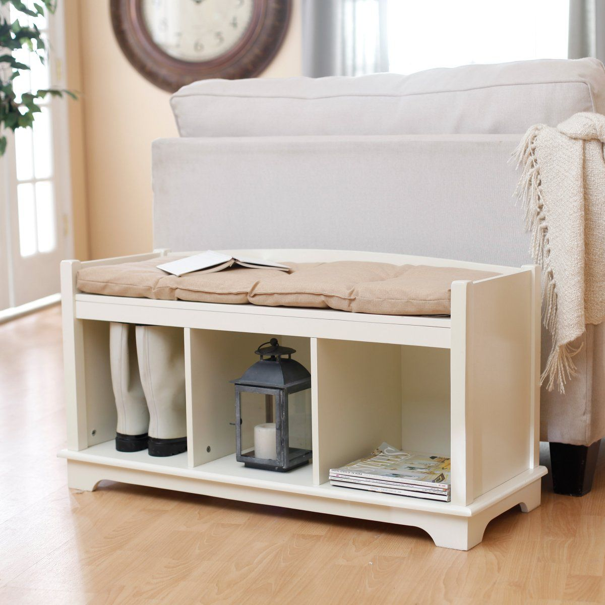 Kendall Cubbie Bench - Antique White - Indoor Storage Benches at ...