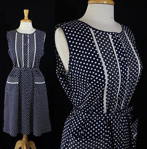 60s 70s Plus Size Dress, Polka Dot, Rockabilly Girl, Sears ...