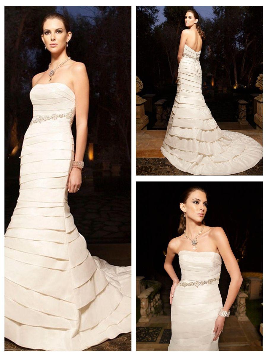 Sophisticated and stylish taffeta mermaid strapless wedding dresses