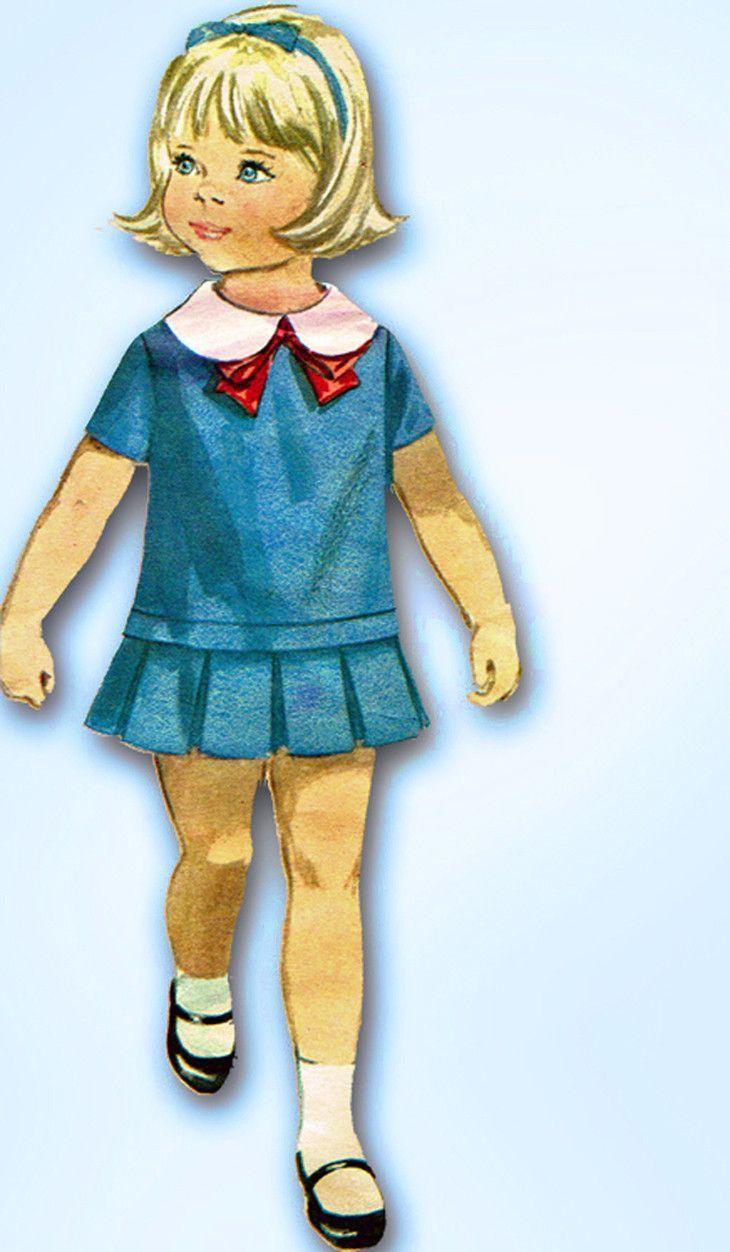 1960s Vintage Butterick Sewing Pattern 3452 Toddler Girls Drop Waist Dress Sz 2
