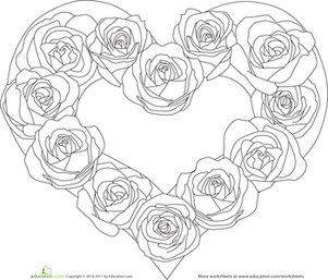 color the heart of roses  worksheet  education  valentine coloring pages valentine