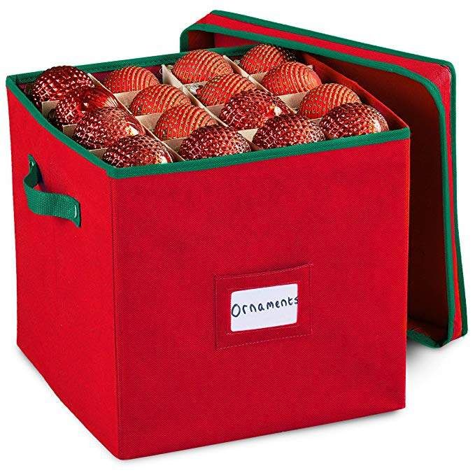 Pakkin Christmas Ornament Storage Box With Lid - Stores up to 64