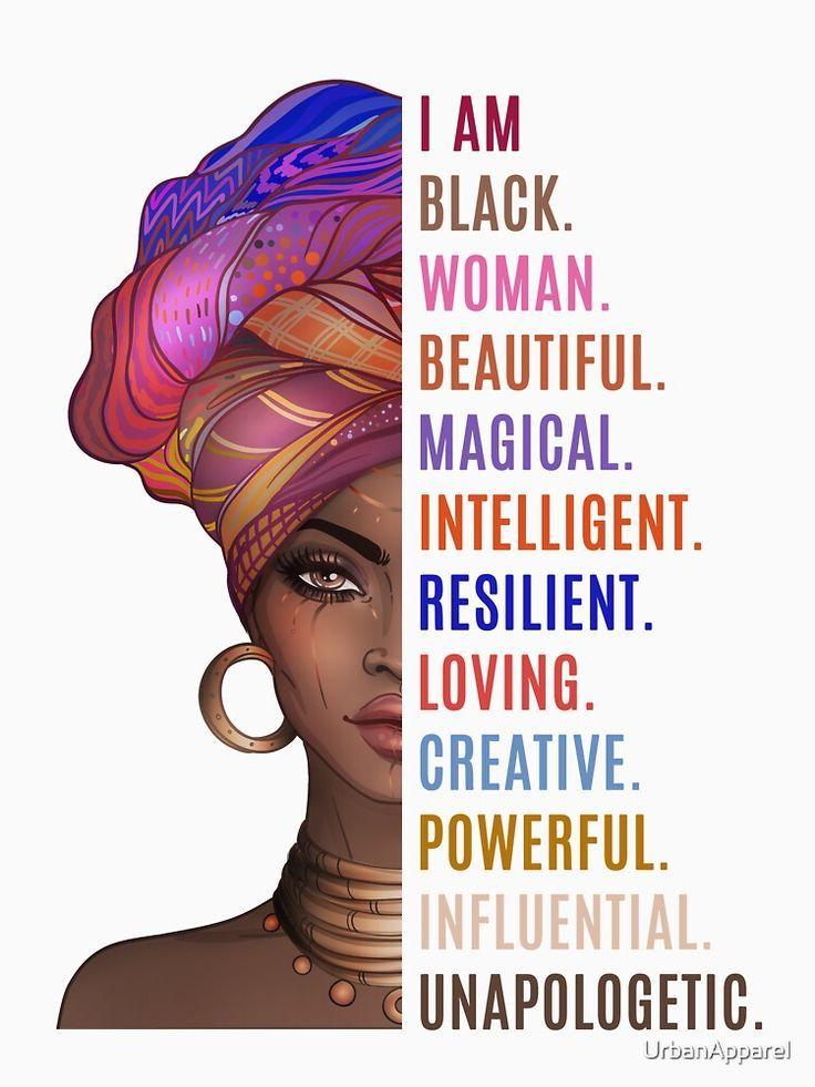 'I Am a Powerful Black Woman' T-Shirt by UrbanApparel in 2020   Black love art, Black girl cartoon,