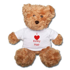 I (Heart) Kinky Hair teddy bear ~ $28.00 #naturalhair #curlyhair #gifts #valentinesday