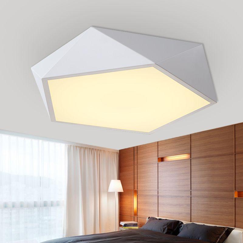 Moderne Blanc Noir Acrylique LED Plafond Lampe Tambour Plafonnier