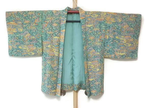 Vintage Haori Jacket in Turquoise Orange by JagataraArtVintSup  https://www.etsy.com/listing/476785475/vintage-haori-jacket-in-turquoise-orange  #kimonooutfit #kimonocardigan #kimonofashion #haori #haorijacket #japankimono #oriental #vintagekimono #vintagehaori #kimonojacket #haorijacket #kimono #turquoise #fallfashion #springfashion