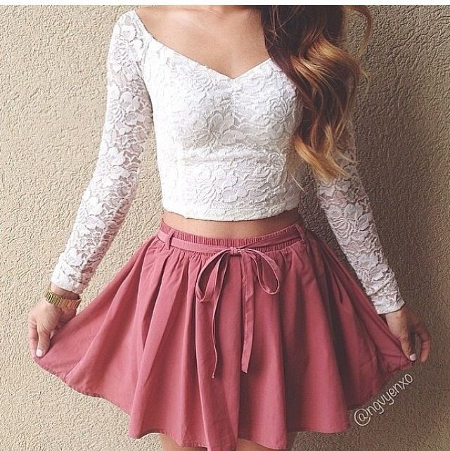 0bd093981d0 Maroon skater skirt and white lace long sleeve crop top outfit ...