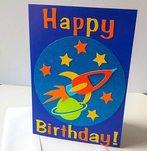 Space Birthday Card Outer Space Birthday Card Rocket Birthday Card