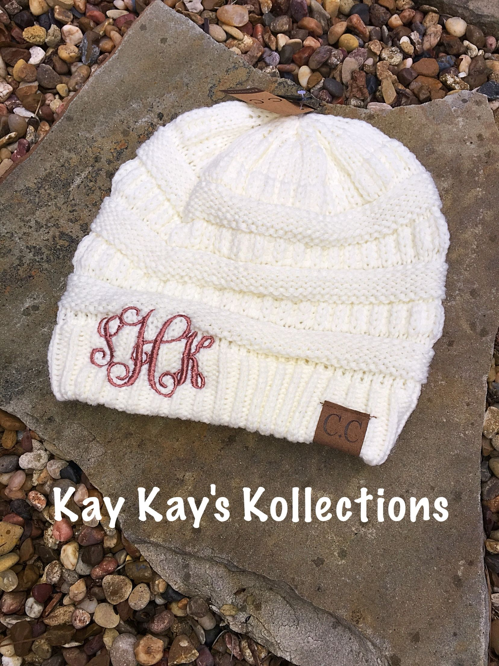 c70a20a4c1ac78 Monogrammed CC Beanies | Kay Kay's Kollections in 2019 | Cc beanie ...