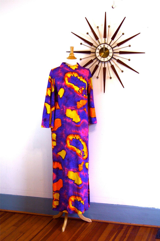 Vintage s pake muuu hawaiian alice maxi dress kaftan colorful neon