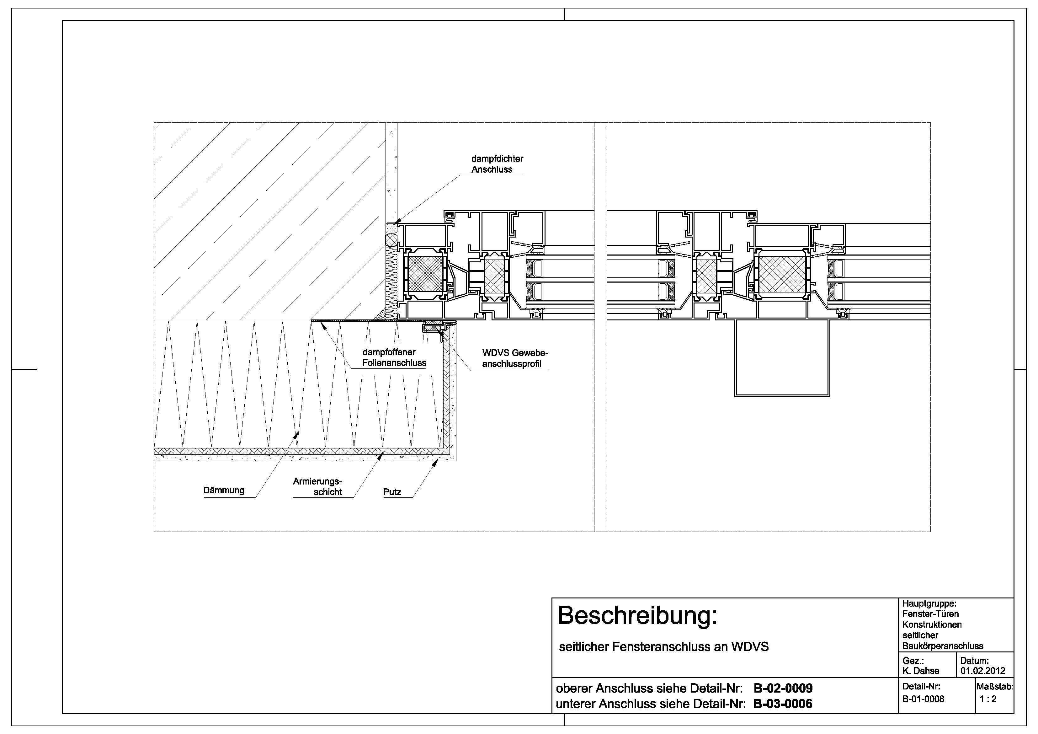 B010008 Fensteranschluss an WDVS Detailzeichnungen