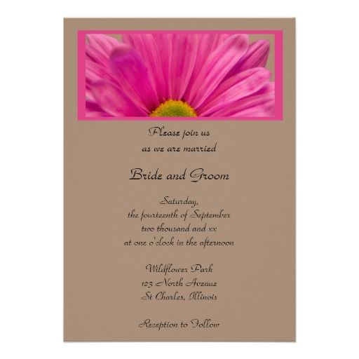 Pink Gerber Daisy Flower Wedding Invitation Zazzle Com Daisy Wedding Invitations Flower Wedding Invitation Gerber Daisy Wedding