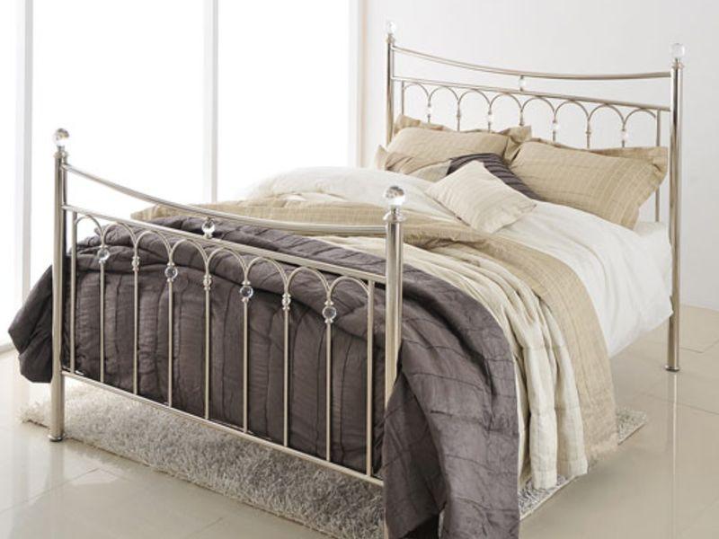 Carmen Silver Metal King Size Bed 405 450 Bed Frame Bed Frame Sizes Metal Bed Frame King bed frame for sale