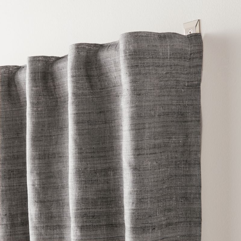 Silvana Silk Dark Grey Blackout Curtain Panel Crate And Barrel Panel Curtains Grey Blackout Curtains Blackout Curtains