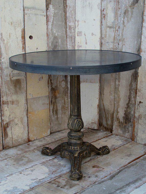 Cast Iron Base, Round Zinc Top Cafe Tables | Tables
