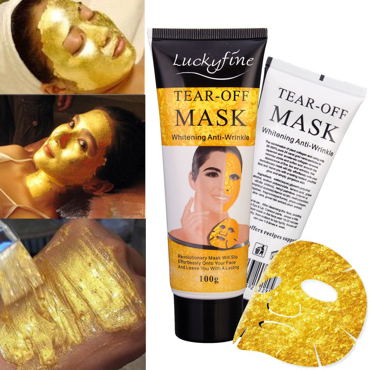24k Gold Collagen Face Pack Anti Aging Neck Mask Remove Wrinkle Hand Wax Cleaning Blackhead Acne Mask Moisturizing Eye Patches Beauty & Health Skin Care
