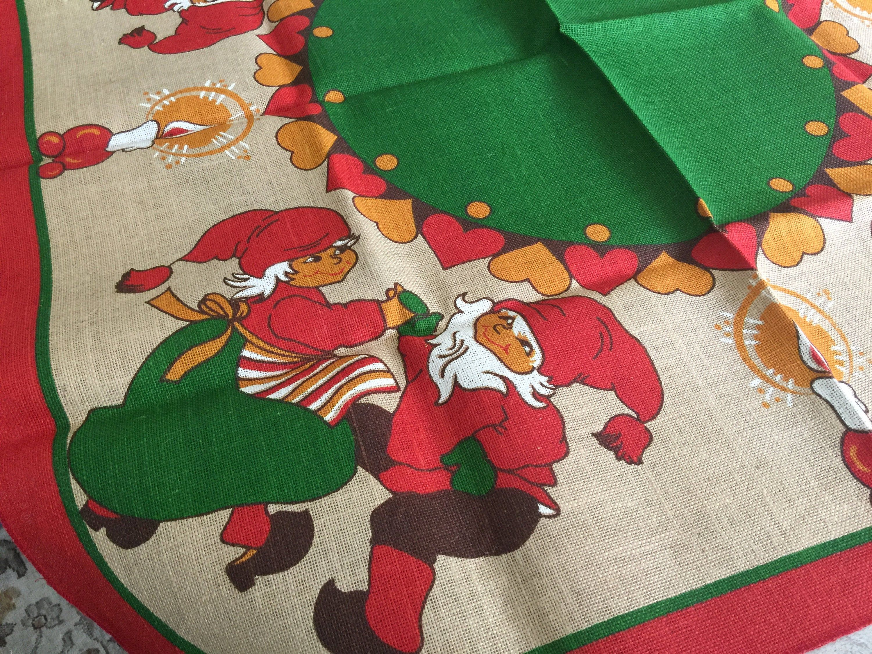 Kitschy Scandinavian Christmas Tablecloth 39 Square Boho Mod Gift Red Green Tomtens Trolls V Christmas Table Cloth Holiday Table Linens Scandinavian Christmas