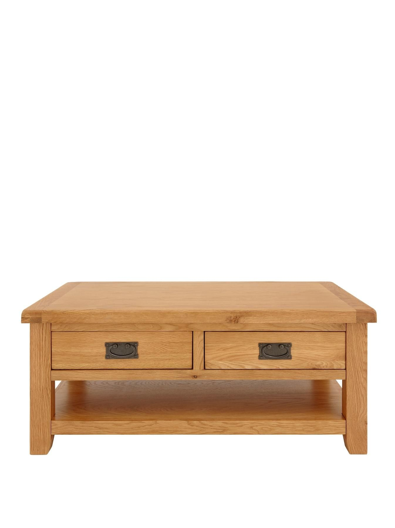 Oakland Part Assembled Solid Oak Coffee Table with 2 Storage
