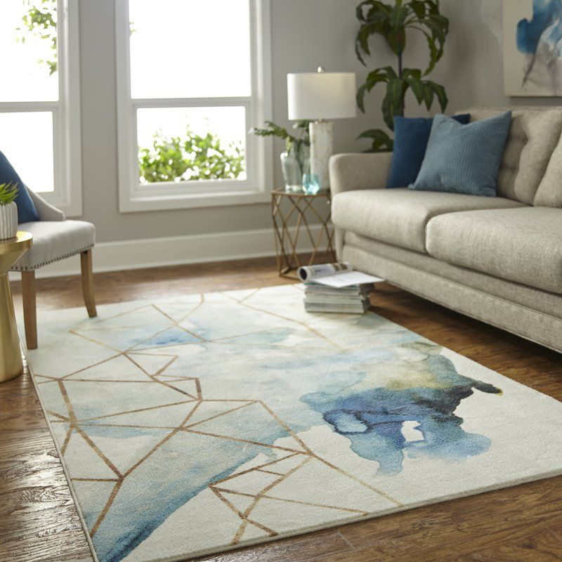 Turn On The Brights Ariya Power Loomed Gold Blue Ivory Area Rug Reviews Wayfair Area Rugs Mohawk Home Rugs