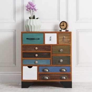 Hand Crafted Multi Coloured Chest Of Drawers From Cult Furniture Uk