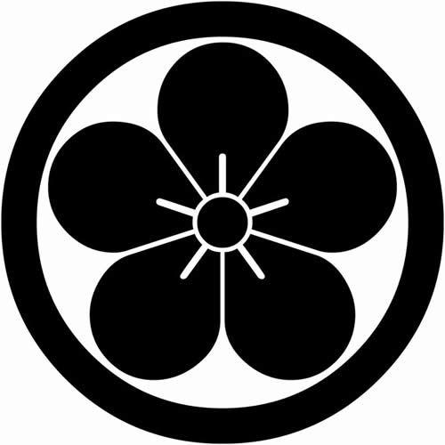 Kamon Plum Flower Japanese Crest Silhouette Stencil Graphic Design Logo