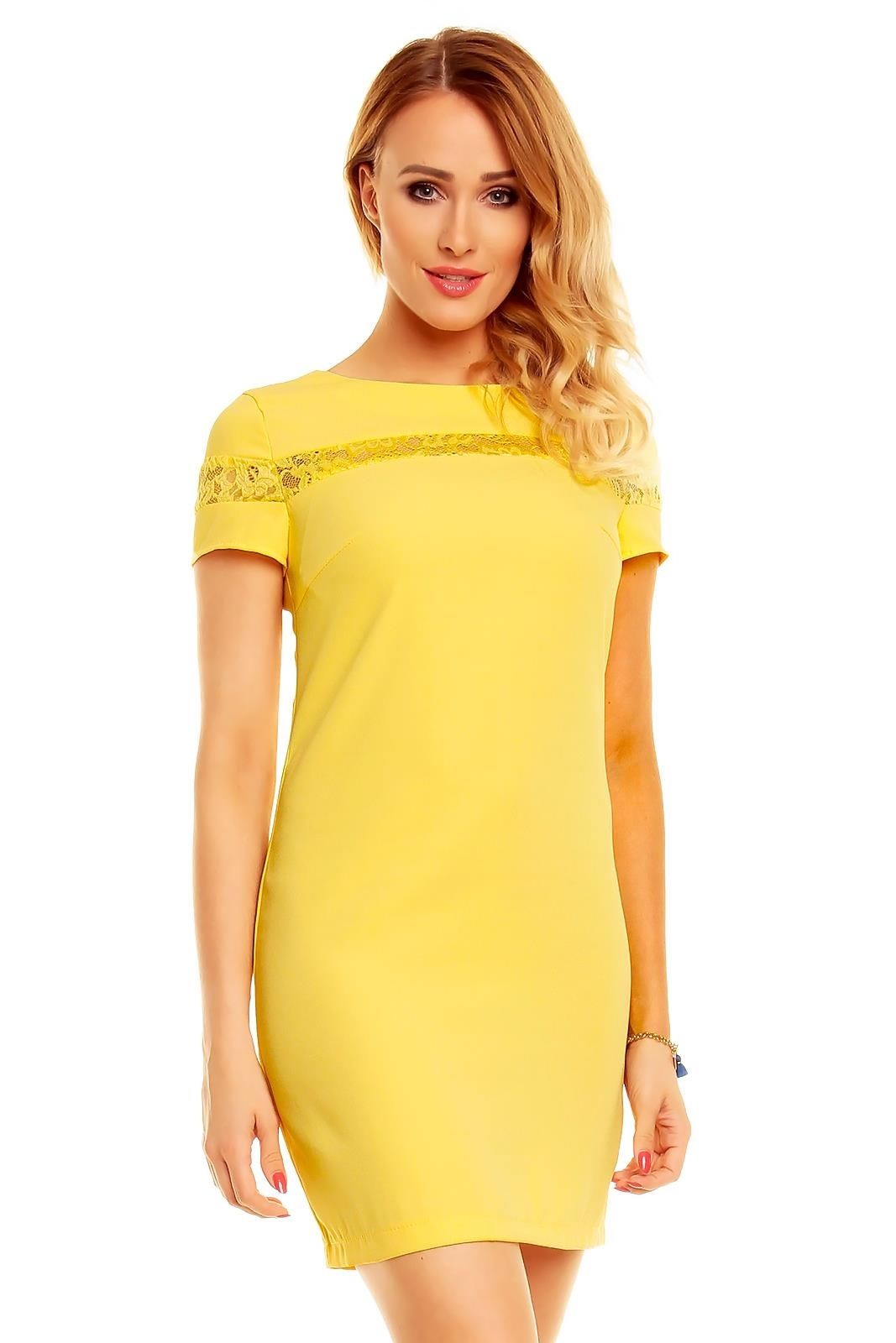 c0b117b38df Robe courte pas cher robe tendance fashion robe jaune TM-10124 - Toufamode