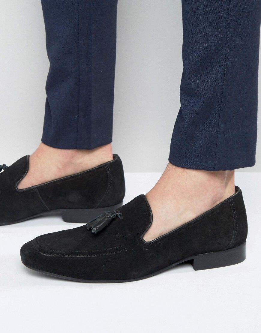 Red Tape Tassel Loafers In Black Suede at asos.com