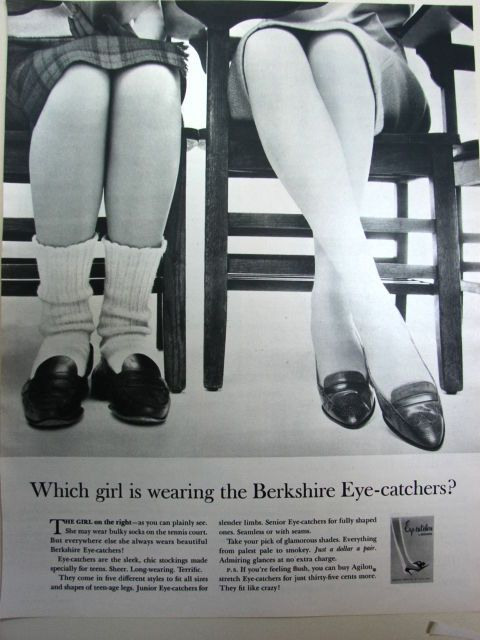 50f8add2bf8 1962 BERKSHIRE Eye-Catcher Nylons Stockings for Teens Penny Loafers Fashion  Ad
