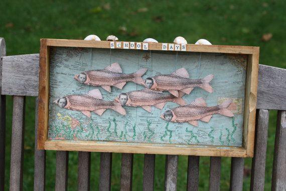 School Days Fish Folk Art Assemblage Original Artwork Altered Shadow Box Shabby Chic Nicho