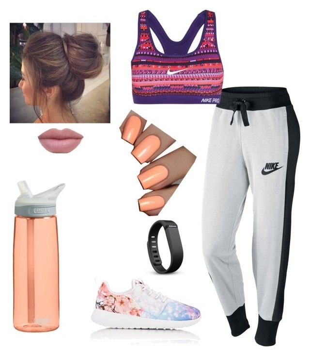 """""""workout"""" by justinbieber-zaikara ❤ liked on Polyvore featuring NIKE, Fitbit and CamelBak"""