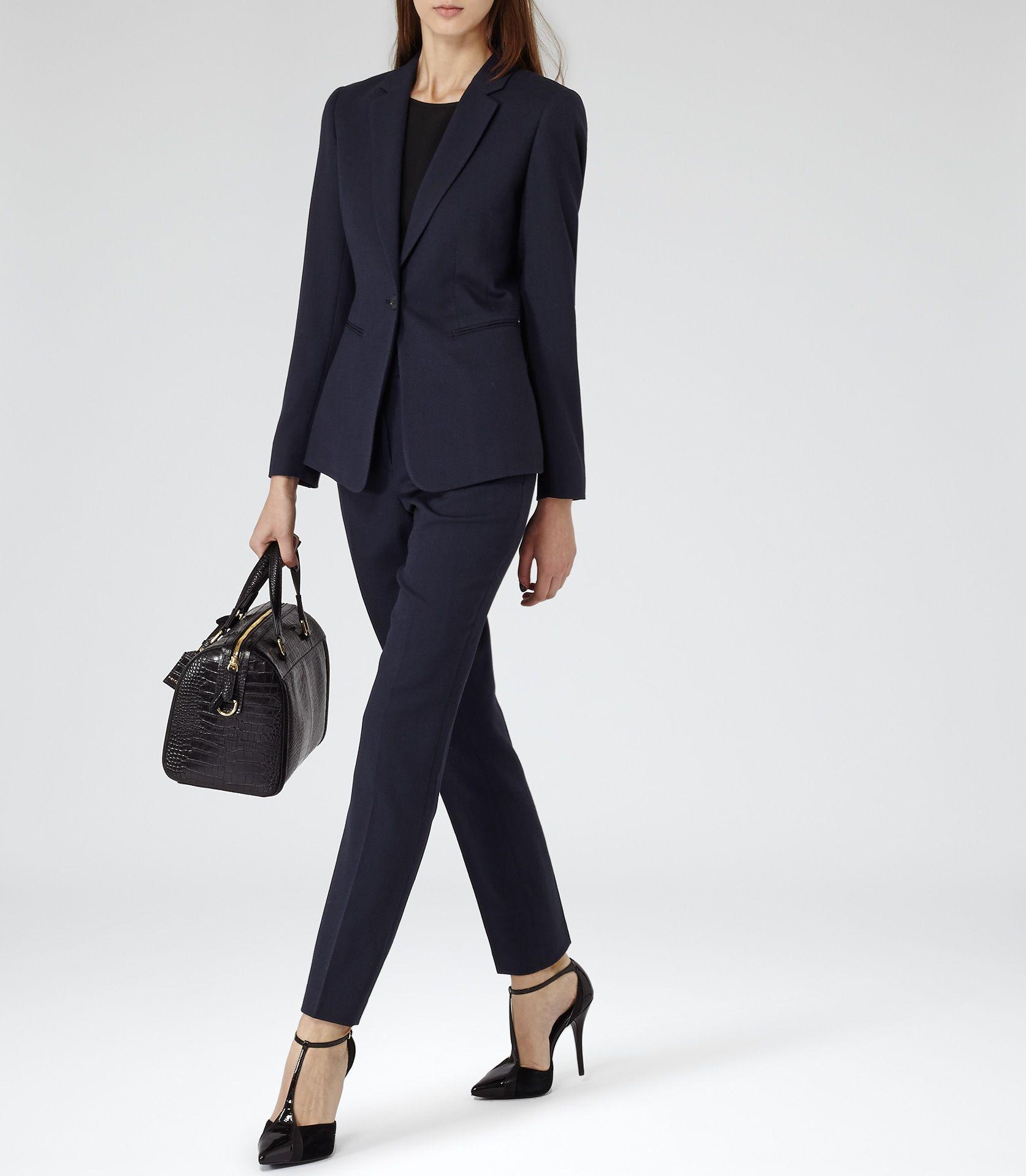 REISS Womens French Navy Slim-fit Tailored Jacket - Reiss Topaz Blazer