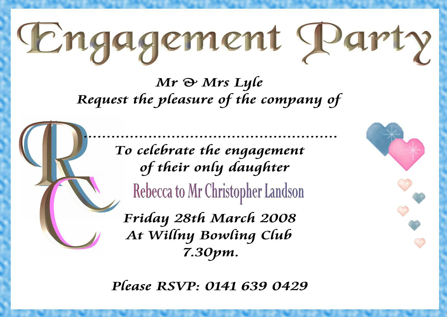 engagement invitation wording samples – Format of Engagement Invitation