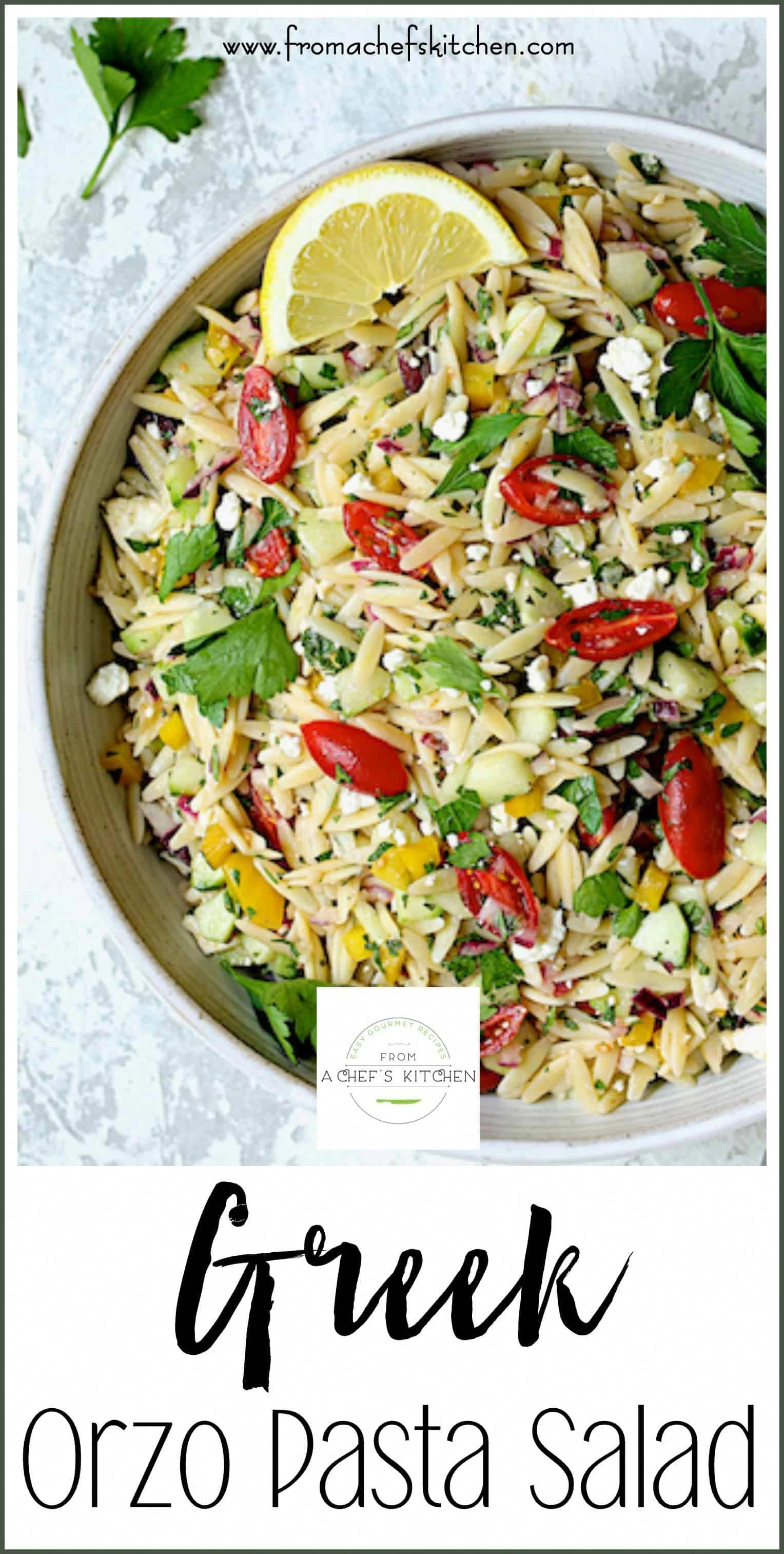 Greek Orzo Pasta Salad is full of fresh, crunchy vegetables and bright, summery flavors! It's the perfect crowd-pleasing salad to take to your summer get-together.