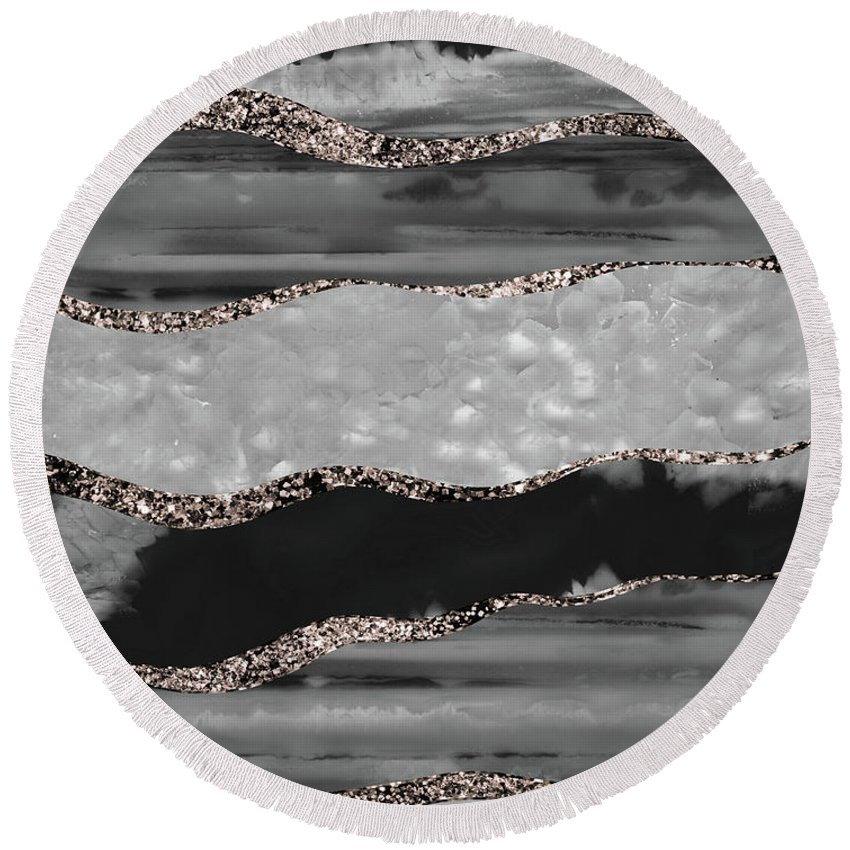 Black Gray White Agate Rose Gold Glitter Stripe Glam 1 Faux Glitter Gem Decor Art Round Beach Towel For Sale By Anitas And Bellas Art Rose Gold Glitter Black And Grey