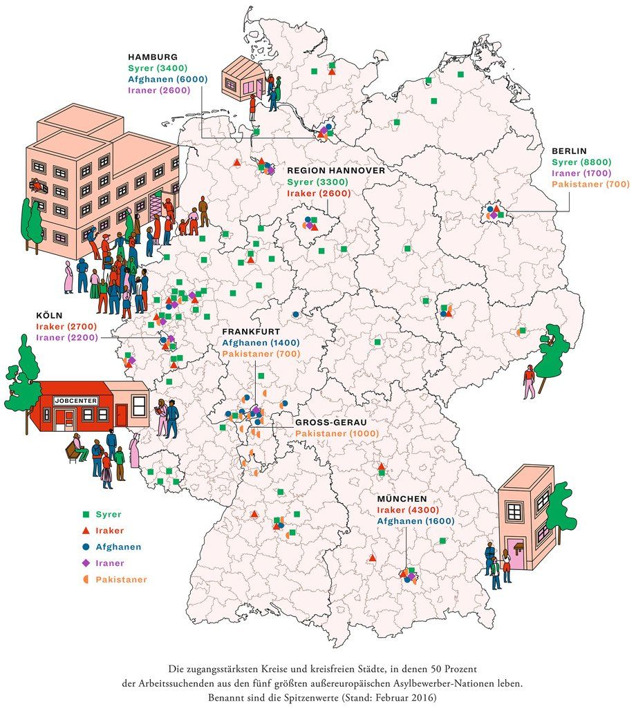 deutschlandkarte wo fl chtlinge arbeit suchen german pinterest arbeit suchen. Black Bedroom Furniture Sets. Home Design Ideas