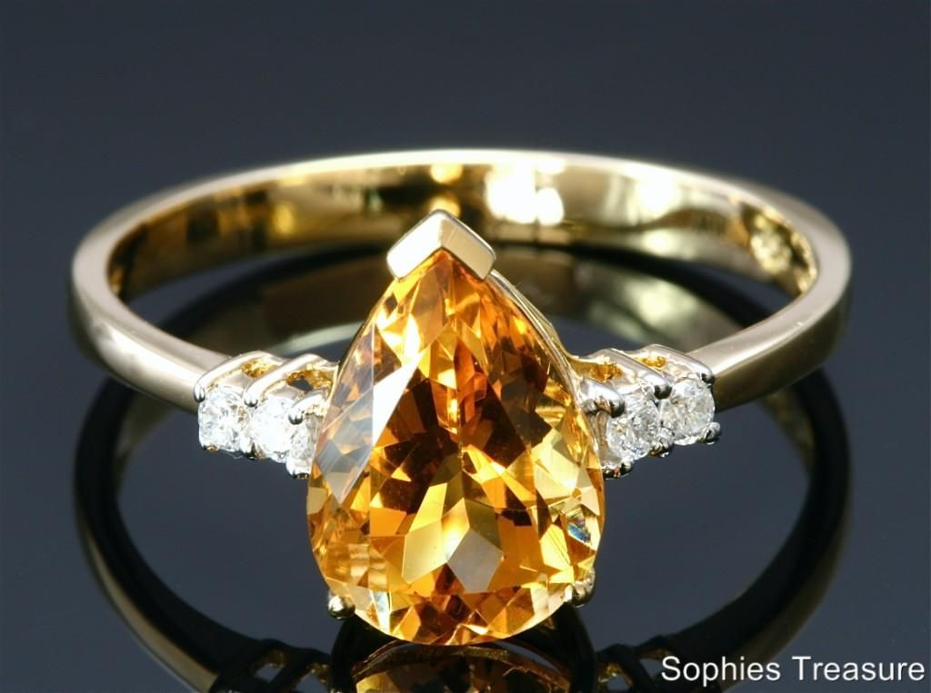 Pear Cut Genuine Citrine Diamond Ring Set In Solid 18K Yellow Gold