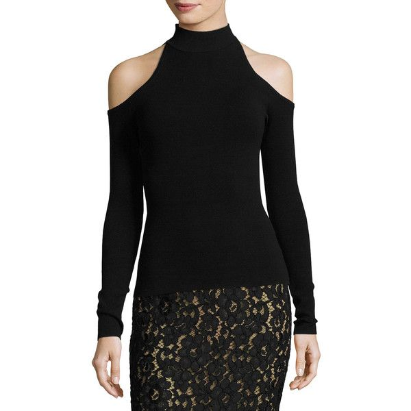 4f6e8c4696e8c3 Michael Kors Collection Cold-Shoulder Mock-Neck Sweater ( 695) ❤ liked on Polyvore  featuring tops