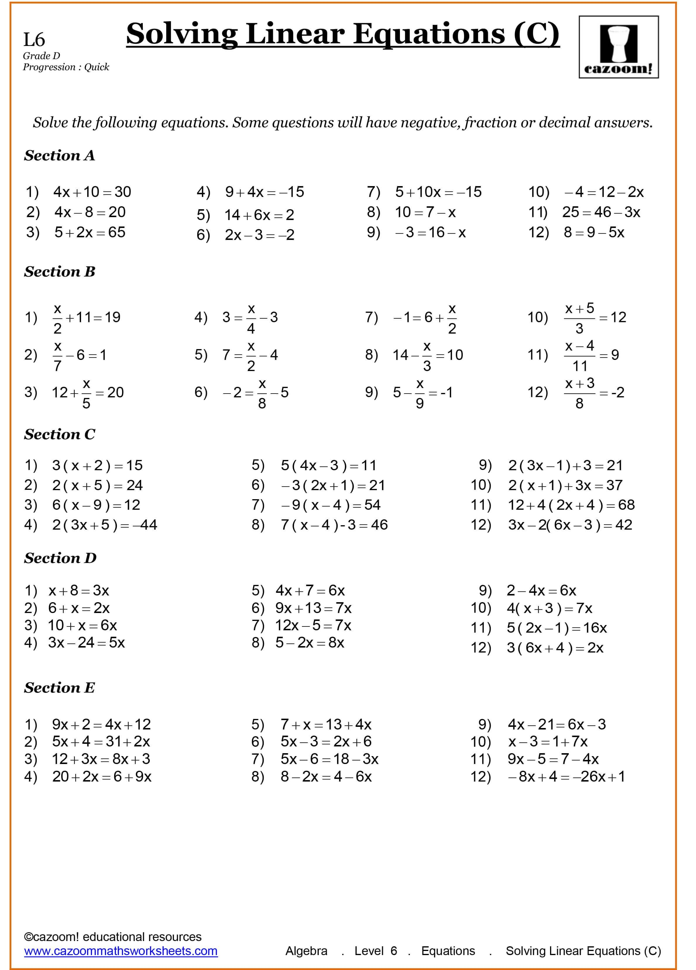 16 Algebra Worksheets Year 9 Printable 10th Grade Math Worksheets Algebra Worksheets Solving Linear Equations
