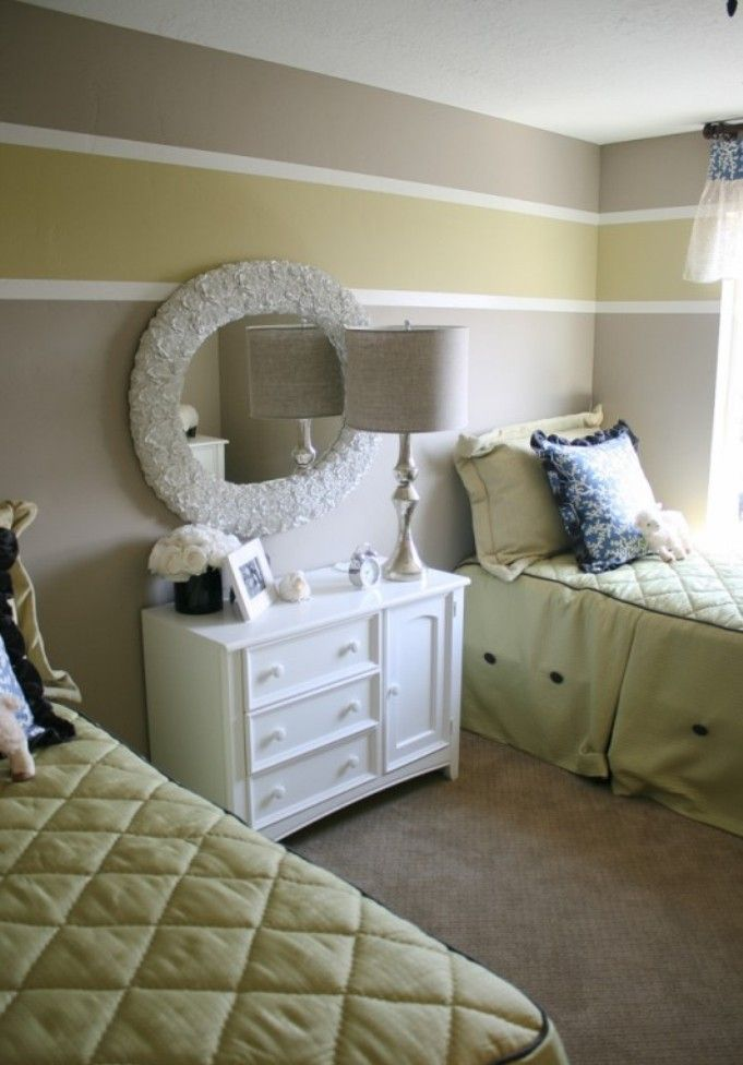 Interior Elegant Bedroom Ideas With Classic White Dresser And Decorative Mirror Using Chic Stripes On Walls Interior Wall Paint Striped Walls Interior Paint