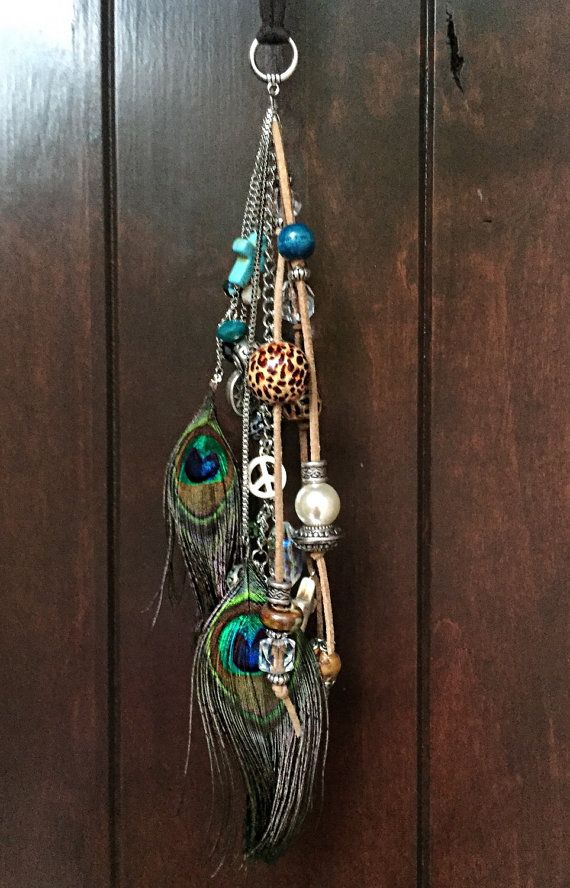 Boho Car Accessories Rearview Mirror Charm Cute Decor For Women Rear View Ornament Pea Feathers Cow Hippie Turquoise