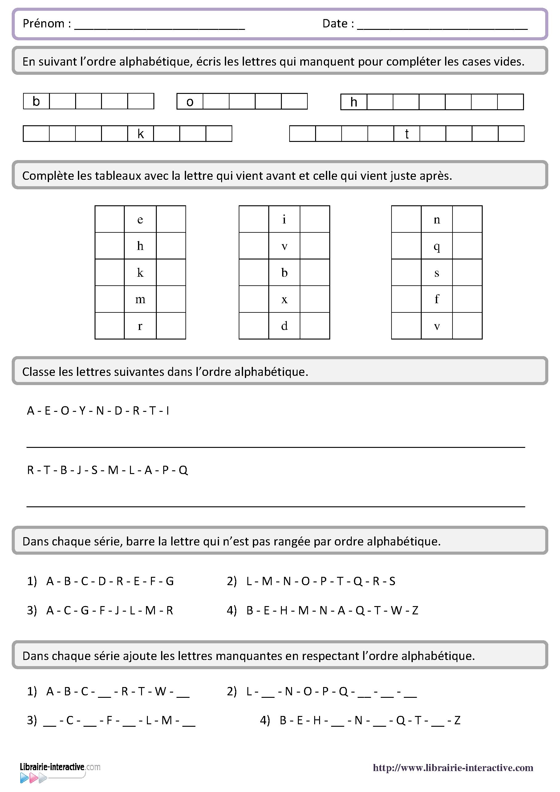 6 fiches d 39 exercices pour aborder l 39 ordre alphab tique d s for A portee de mots cm2