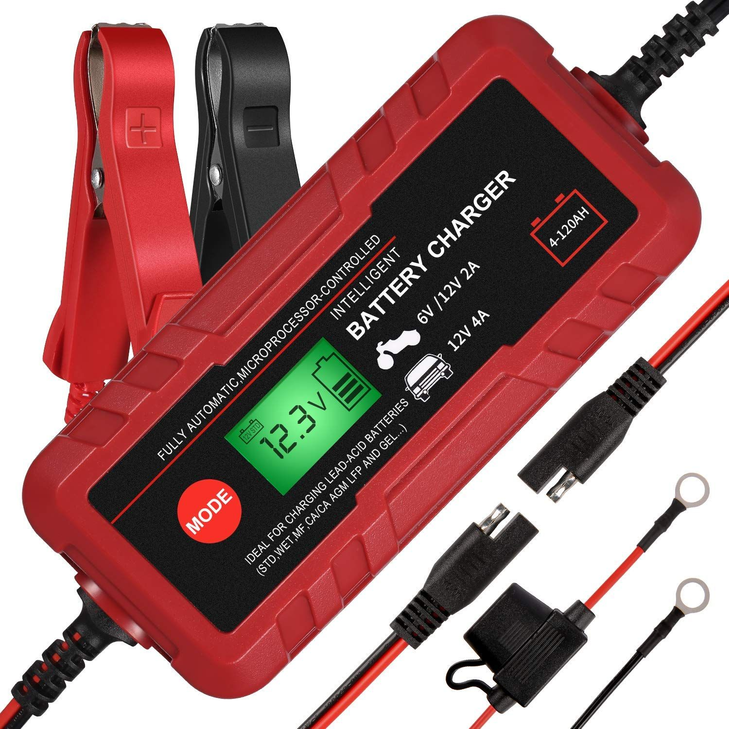 Adakiit 6/12V 4A Smart Battery Charger/Maintainer Fully