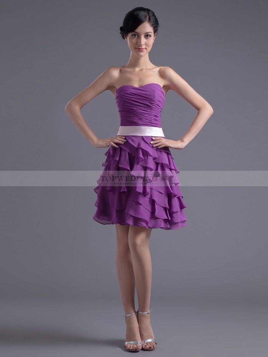 d7c00c1de7ec Sweetheart Chiffon Mini Party Dress with Sash and Layered Skirt ...
