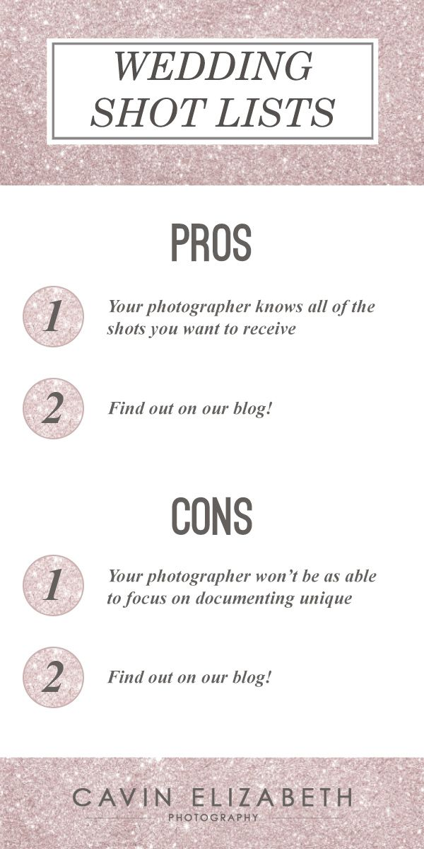 Wedding Shot Lists Pros And Cons  Wedding Shot List Shot List