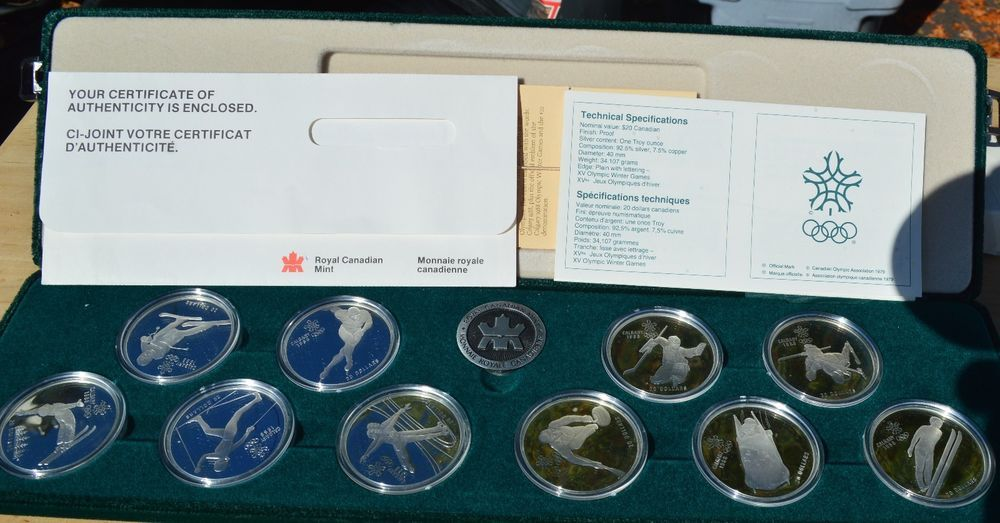 1988 CANADA WINTER OLYMPICS STERLING SILVER 10-COIN SET w/ BOX PAPERS! OLY