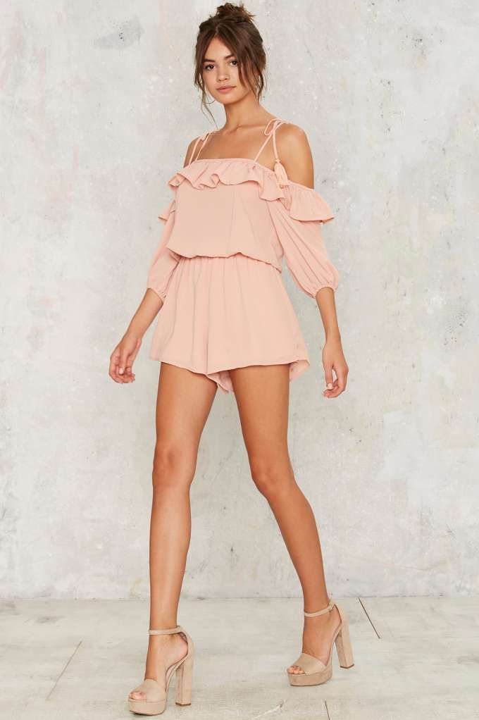 Ruffled Around Off-the-Shoulder Romper - Rompers + Jumpsuits | Off The Shoulder